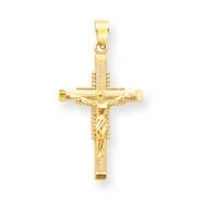 14K Petite Beaded Textured Crucifix