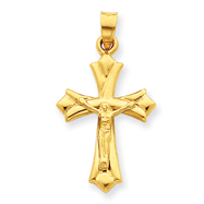 14K Small Floret Tipped Polished Crucifix