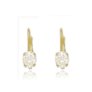 14K Gold Leverback 5x7mm CZ Earrings