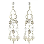 Sterling Silver 5-5.5mm Freshwater Cultured Pearl, Smokey Quartz & Crystal Chandelier Earrings