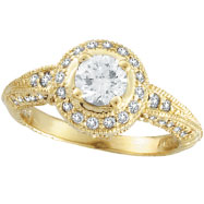 18K Gold Antique Style Round Diamond Centerpiece Engagement Ring