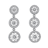 14K White Gold 1.76ct Diamond Triple Circle Floral Designer Drop Earrings