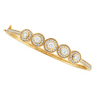 18K Gold Designer 2.53 Diamond Bangle Bracelet SI1-SI2 G-H