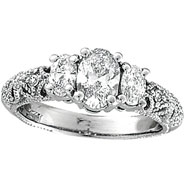 18K White Gold Three Stone 1.25ct Diamond Ring SI2 H-I