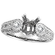 18K White Gold 1.7ct Diamond Semi Mount Antique Style Setting SI1-SI2 G-H