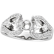 18K White Gold .85ct Diamond Semi Mount Antique Style Setting SI1-SI2 G-H