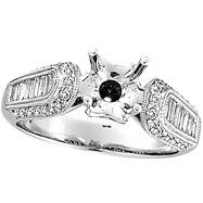 18K White Gold .80ct Diamond Semi Mount Mounting Antique Style Ring Setting SI1-SI2 G-H