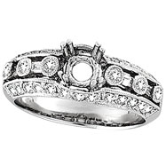 18K White Gold .75ct Diamond Semi Mount Antique Style Setting SI1-SI2 G-H
