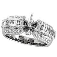 18K White Gold 1.05ct Diamond Semi Mount Antique Style Ring Setting SI1-SI2 G-H