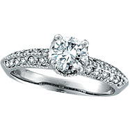 18K White Gold 1.01ct Diamond Antique Style Engagement Ring SI2 H-I