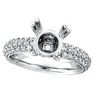 18K White Gold 1.55ct Diamond Eternity Setting Semi Mount Ring Mounting SI1-SI2 G-H