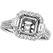 18K White Gold 1.4ct Diamond Semi Mount Antique Style SI1-SI2 G-H
