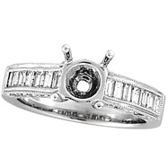 18K White Gold Baguette .90ct Diamond Semi Mount Ring Setting SI1-SI2 G-H