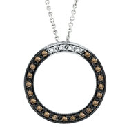 14K White Gold .25ct Champagne Diamond Circle Necklace Pendant SI1-SI2 G-H