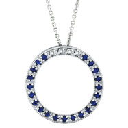 14K White Gold .04ct Diamond & Sapphire Circle Necklace