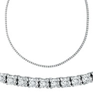 18K White Gold Eternity 10.51ct Diamond Tennis Necklace SI1-SI2 G-H