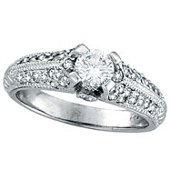 18K White Gold .90ct Diamond Solitaire Antique Style Engagement Ring SI2 H-I