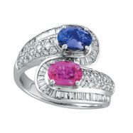 14K White Gold Pink Sapphire & Tanzanite & 1.0ct Diamond Ring SI1-SI2 G-H