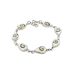 Sterling Silver and Eye of Shiva Shell Teardrop Links Bracelet