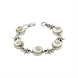 Round and Flower Links Bracelet in Sterling Silver and Eye of Shiva Shell