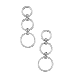 Sterling Silver Three Ring Stud Earrings with Cubic Zirconia
