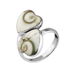 Two Hearts Sterling Silver Ring with Eye of Shiva Shell Inlay