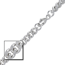"Sterling Silver 1/8"" (4mm) Curb Chain"