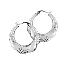 Sterling Silver Weaved Hoop Earrings