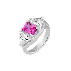 Sterling Silver Ring with Square and Triangle with White and Pink CZ