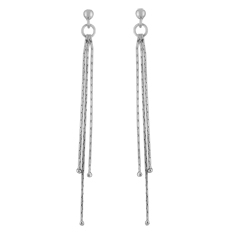 Sterling Silver Three Chains Stud Earrings