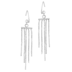 Designer Inspired Sterling Silver Five Strands Dangle Earrings