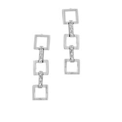 Sterling Silver Three Dangling Squares Stud Earrings with White CZ