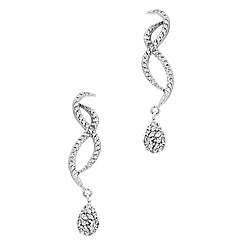 "Sterling Silver Pave CZ ""8"" and Teardrop Stud Earrings with White CZ"
