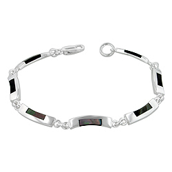 Sterling Silver Curved Links Bracelet with Black Mother of Pearl