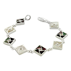 Sterling Silver Square Links Bracelet with White and Black Mother of Pearl