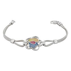Sterling Silver Flower Bracelet with Yellow-Blue-Pink Mother of Pearl