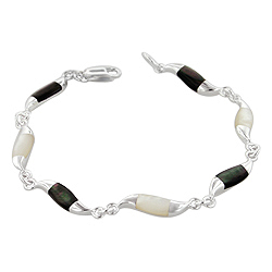 Sterling Silver Waves Bracelet with Black and White Mother of Pearl