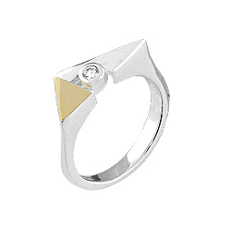 Sterling Silver White and Yellow Triangle Ring with White CZ