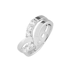 Sterling Silver Double Accent Ring with White CZ