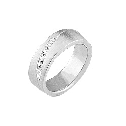 Sterling Silver Matte Ring with Diagonal White CZ Line