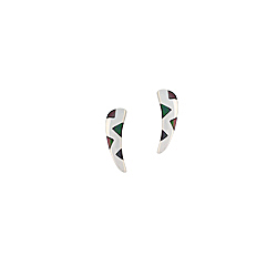 "Sterling Silver ""Fang"" Stud Earings with Black Triangular Mother of Pearl Inlays"
