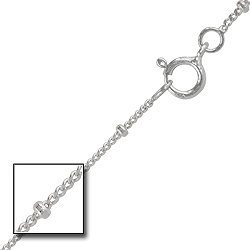 Sterling Silver 1mm Curb Chain with Beads