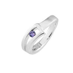 Sterling Silver Matte Finish Slotted Ring with Amethyst CZ
