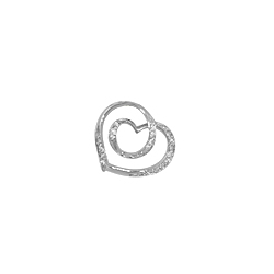 Sterling Silver Hearts Pendant with White CZ