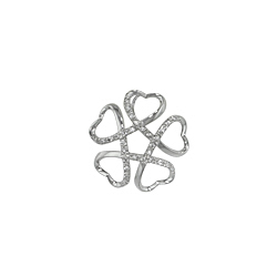 Sterling Silver Heart Petals Flower Pendant with White CZ