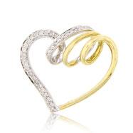 14K Two-Tone Gold Swirl Heart Design Diamond Pendant