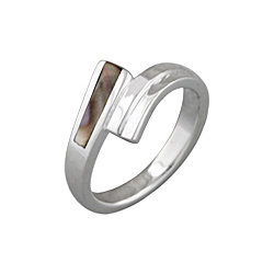 "Sterling Silver ""Two Strokes"" Ring with Black Mother of Pearl"