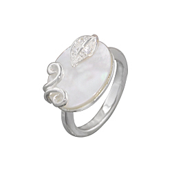 Sterling Silver Oval with Leaf and Sprouts Ring with White Mother of Pearl and White CZ