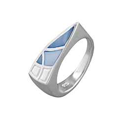 Sterling Silver Wavy Triangle Ring with Blue Mother of Pearl