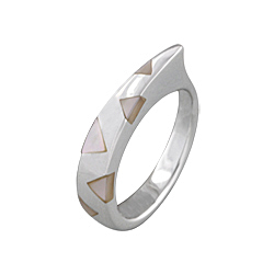 "Sterling Silver ""Fang"" Ring with White Triangular Mother of Pearl Inlays"